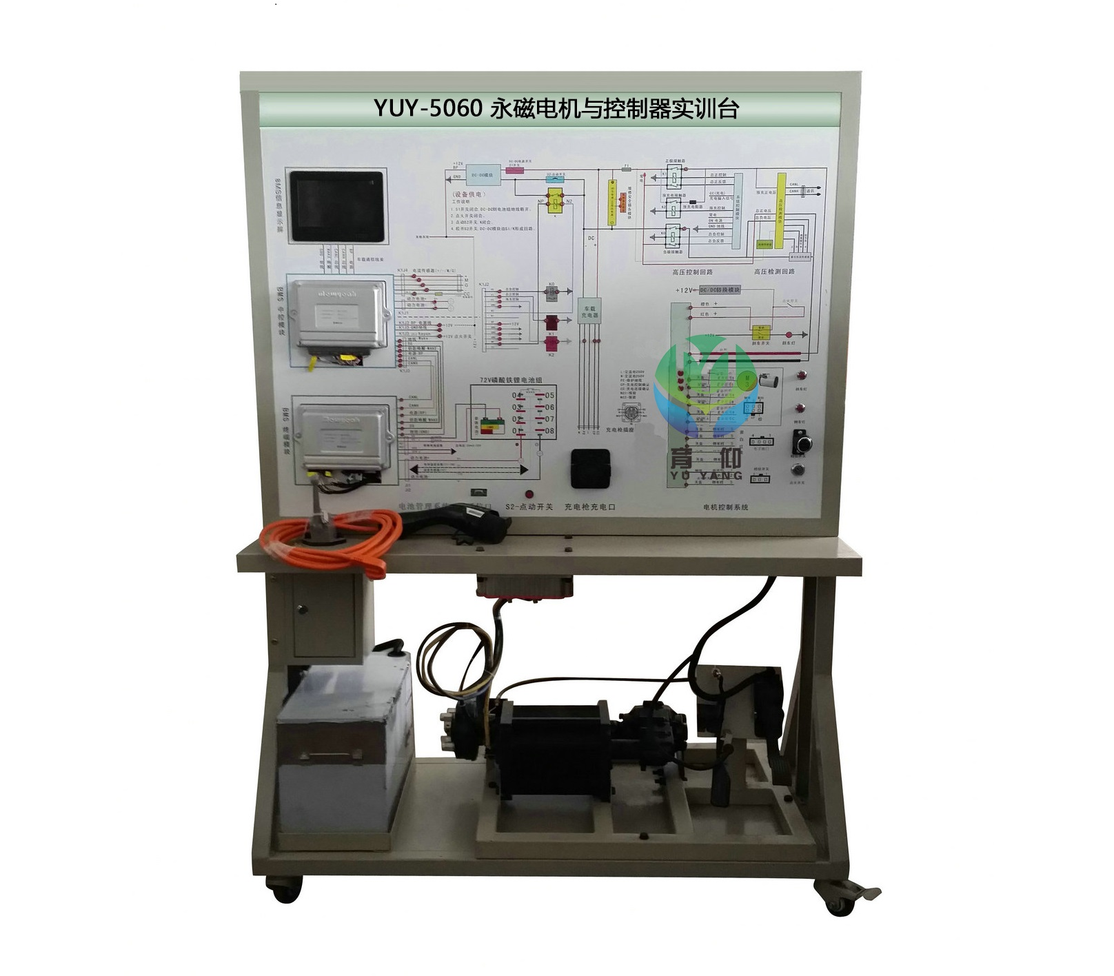 一.产品组成 1.永磁电机与控制器实训台以电动汽车真实零部件为基础构建可演示电动汽车驱动工作原理及过程、无安全隐患的实训台。 2.主要部件:磷酸铁锂电池组、锂电池管理系统模块、永磁同步直流电机、控制器、组合仪表、档位控制系统、油门、刹车踏板、差速器、驱动半轴及模拟车轮、点火开关、低压蓄电池、继电器、充电插头、安全开关等。 二.